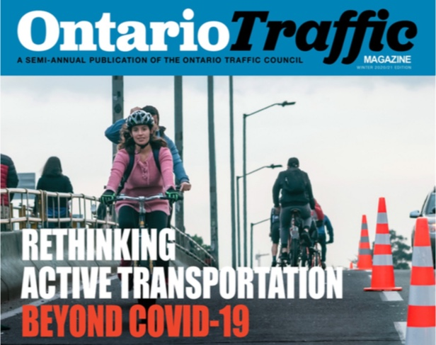 Cover of the digital Ontario Traffic Magazine with a photo of people cycling over a bridge and the text