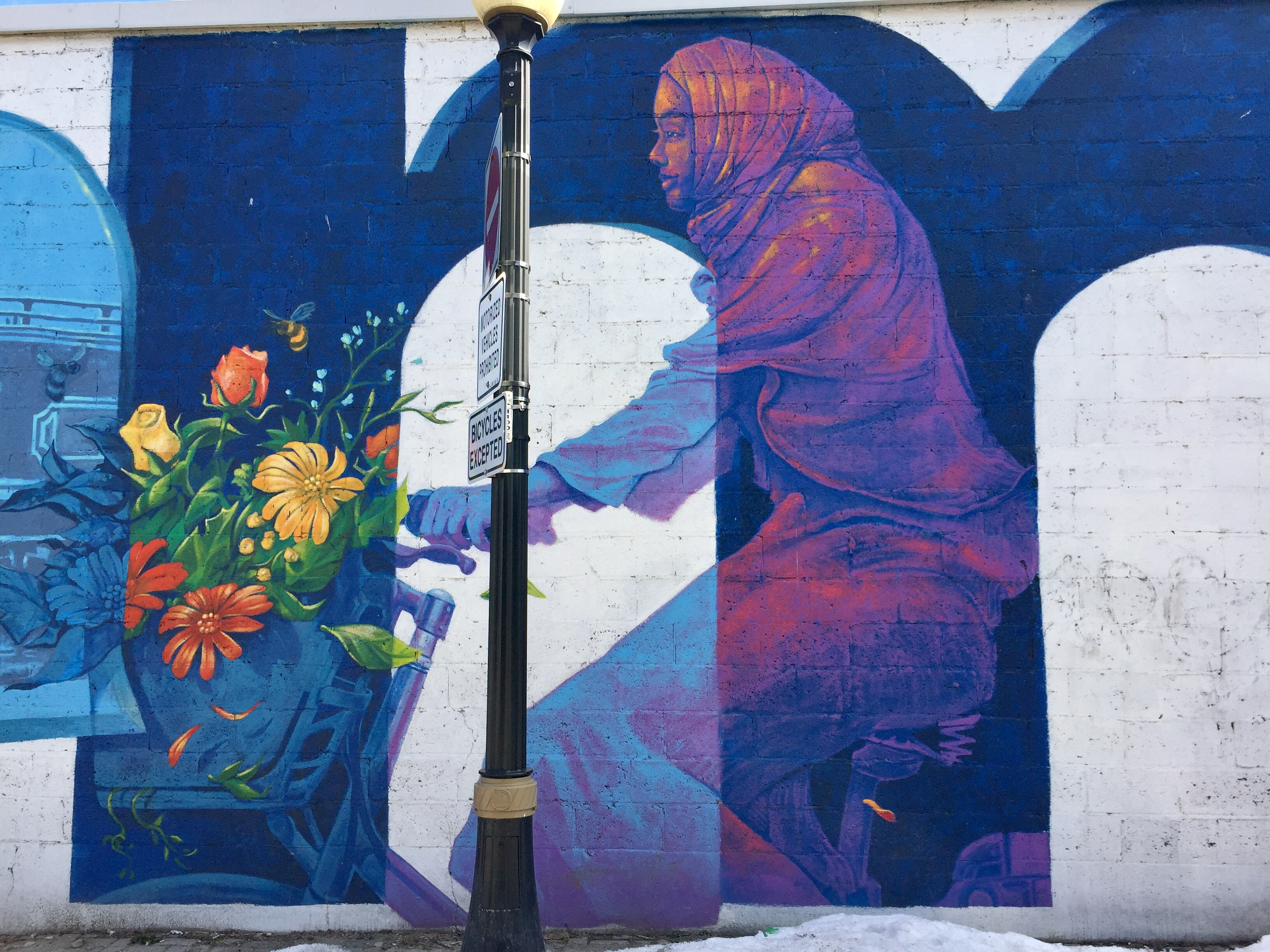 Colourful mural painting of a woman riding a bicycle. She is wearing a headscarf and has a basket full of yellow and orange flowers.