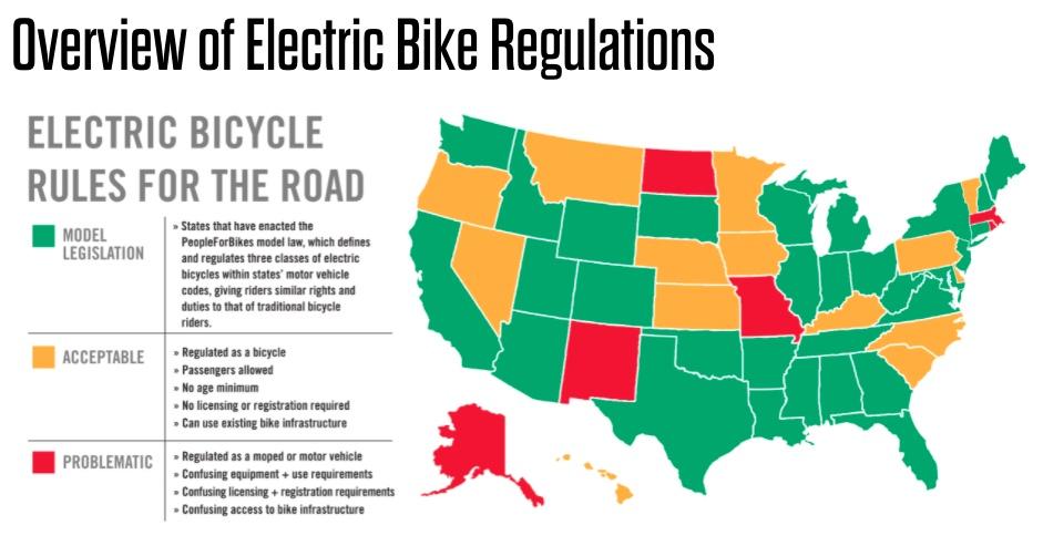 Map of US EBike Regulations